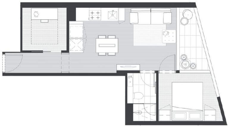 1 bedroom plus study second bedroom eq tower for Apartment floor plans melbourne